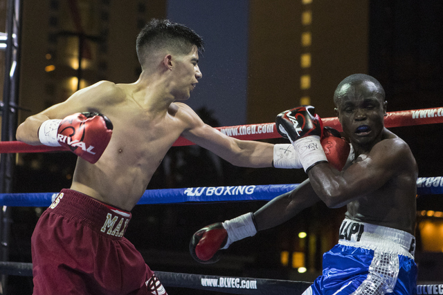 """Max """"The Baby Faced Assassin"""" Ornelas, left, lands a punch against Mulapi Enjani during the Knockout Night at the D Las Vegas on Friday, Sept. 30, 2016.  (Loren Townsley/Las Vegas Review-Journal)  ..."""