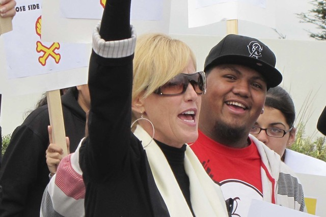 Activist Erin Brockovich, seen at a 2011 protest. (File, Las Vegas Review-Journal)