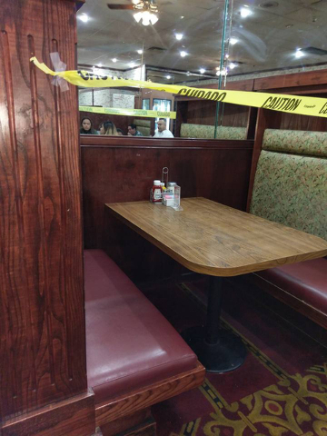 A booth at Hometown Kitchen restaurant inside the Silver Nugget casino is shown in this photo posted to Barbi Stenstrom's Facebook page Sunday, Sept. 11, 2016.  Stenstrom said she was sitting in t ...