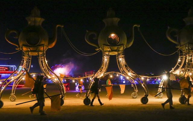 A moving art project passes by during Burning Man at the Black Rock Desert north of Reno on Tuesday, Aug. 30, 2016. Chase Stevens/Las Vegas Review-Journal Follow @csstevensphoto