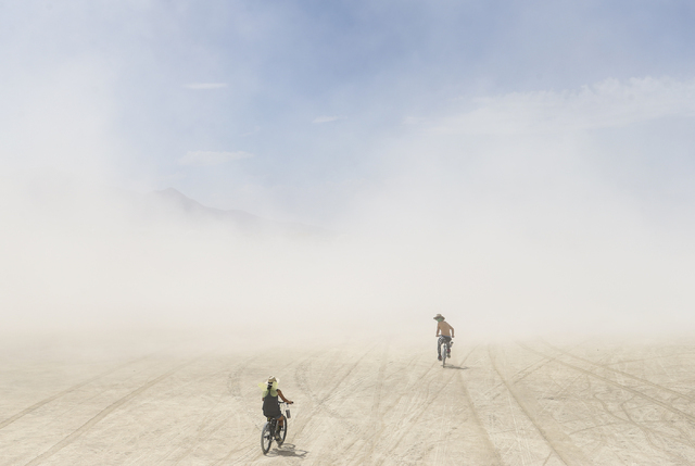 A dust storm approaches during Burning Man at the Black Rock Desert north of Reno on Wednesday, Aug. 31, 2016. Chase Stevens/Las Vegas Review-Journal Follow @csstevensphoto