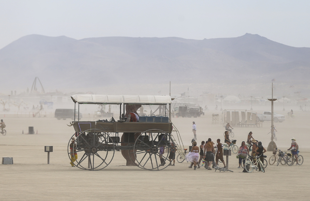 An art car moves along the playa during Burning Man at the Black Rock Desert north of Reno on Wednesday, Aug. 31, 2016. Chase Stevens/Las Vegas Review-Journal Follow @csstevensphoto