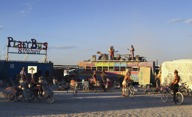 Platybus & The Band perform on top of a bus during Burning Man at the Black Rock Desert north of Reno on Wednesday, Aug. 31, 2016. Chase Stevens/Las Vegas Review-Journal Follow @csstevensphoto