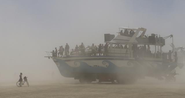 An art car moves along the playa during Burning Man at the Black Rock Desert north of Reno on Thursday, Sept. 1, 2016. Chase Stevens/Las Vegas Review-Journal Follow @csstevensphoto