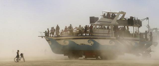 An art car moves along the playa during Burning Man at the Black Rock Desert north of Reno on Thursday, Sept. 1, 2016. (Chase Stevens/Las Vegas Review-Journal) Follow @csstevensphoto
