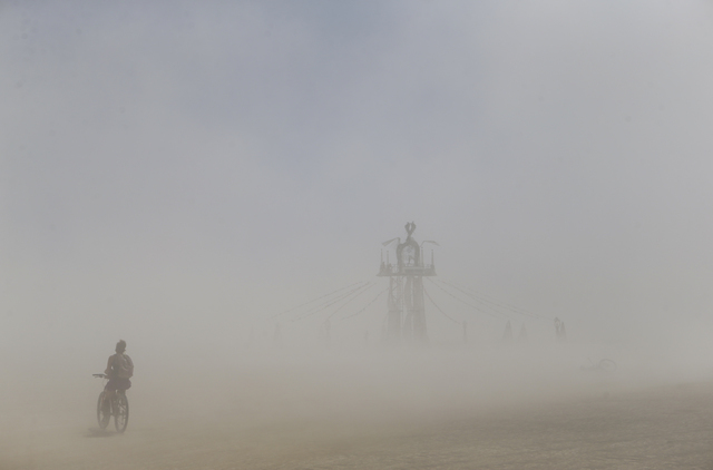 A dust storm moves along the playa during Burning Man at the Black Rock Desert north of Reno on Thursday, Sept. 1, 2016. Chase Stevens/Las Vegas Review-Journal Follow @csstevensphoto