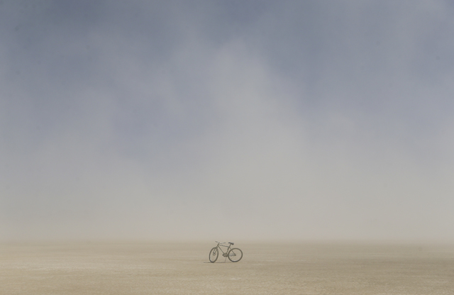 A lone bike sits on the playa during Burning Man at the Black Rock Desert north of Reno on Thursday, Sept. 1, 2016. Chase Stevens/Las Vegas Review-Journal Follow @csstevensphoto