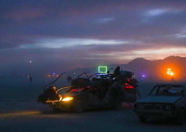 An art car arrives for the Jedi Dog Temple burn during Burning Man at the Black Rock Desert north of Reno on Thursday, Sept. 1, 2016. (Chase Stevens/Las Vegas Review-Journal) Follow @csstevensphoto