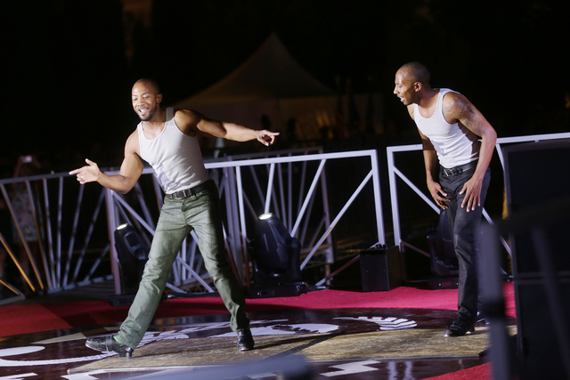 Sean and John Scott, the Absinthe Tap Dancing Twins, perform at the Caesars Palace 50th anniversary celebration on Sunday, July 3, 2016, at Caesars Palace in Las Vegas. (Rachel Aston/Las Vegas Rev ...