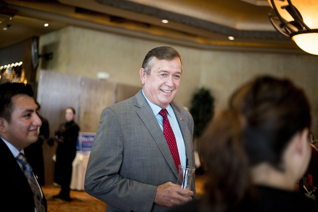 Incumbent Republican candidate Cresent Hardy for the 4th Congressional District mingles during the Women's Chamber of Commerce of Nevada luncheon at the Bali Hai Golf Club Friday, Aug. 19, 2016, i ...