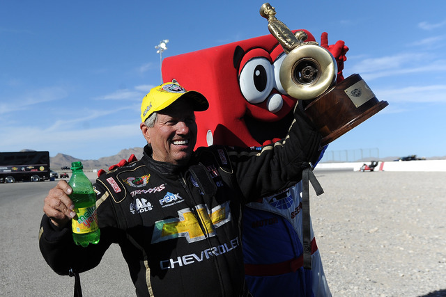NHRA Funny Car driver John Force celebrates winning SummitRacing.com Nationals at The Strip at Las Vegas Motor Speedway in Las Vegas Sunday April 12, 2015. (Josh Holmberg/Las Vegas Review Journal)