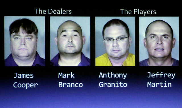 Former Bellagio craps dealers and their friend's photos are displayed as James Taylor, deputy chief for the Nevada State Gaming Control Board, presents current and ongoing fraud schemes and curren ...