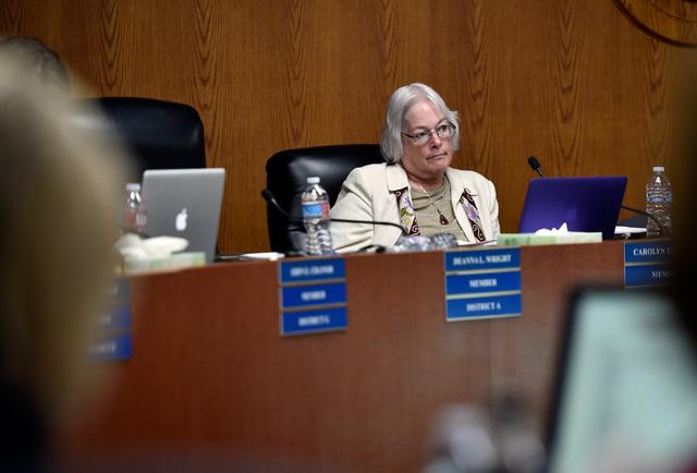 Carolyn Edwards, Clark County School Board member listens to a speaker during a school board meeting at the Clark County School Board Thursday, Sept. 8, 2016, in Las Vegas. (David Becker/Las Vegas ...