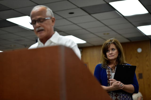 Wendy Mulcock, right, waits as Juan Sclafani speaks during a school board meeting at the Clark County School Board Thursday, Sept. 8, 2016, in Las Vegas. (David Becker/Las Vegas Review-Journal) Fo ...
