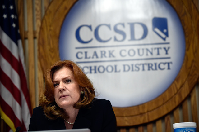 Patrice Tew, Clark County School Board member listens to a speaker during a school board meeting at the Clark County School Board Thursday, Sept. 8, 2016, in Las Vegas. (David Becker/Las Vegas Rev ...