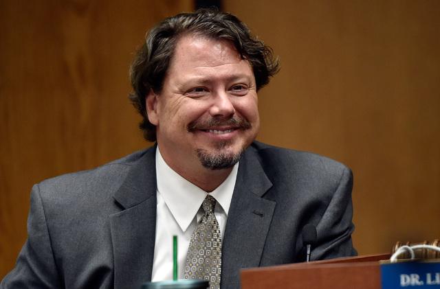 Clark County School District Superintendent Pat Skorkowsky smiles during a school board meeting at the Clark County School Board Thursday, Sept. 8, 2016, in Las Vegas. (David Becker/Las Vegas Revi ...