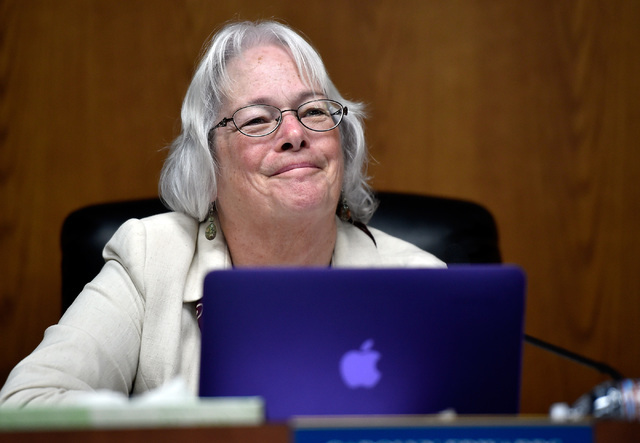 Carolyn Edwards, Clark County School Board member smiles during a school board meeting at the Clark County School Board Thursday, Sept. 8, 2016, in Las Vegas. (David Becker/Las Vegas Review-Journa ...