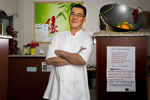 Chef Kenny Chye in his restaurant, the Veggie House, located at 5115 Spring Mountain Road, in Las Vegas on Friday, Sept. 16, 2016. Jeferson Applegate/Las Vegas Review-Journal