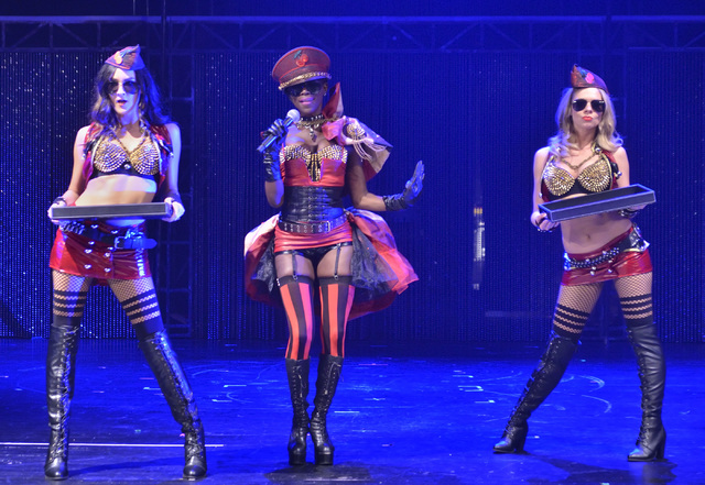 Christine Richards, left, emcee Sharon Ferguson, center, and Sarah Jessica Rhodes perform during a rehearsal for Cherry Boom Boom at the Tropicana on Friday, Sept. 2, 2016. (Bill Hughes/Las Vegas  ...