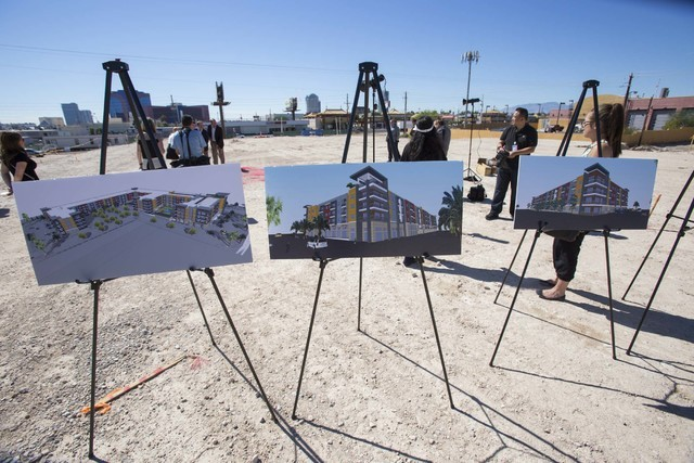 Architectural renderings are seen during a groundbreaking ceremony in Las VegasՠChinatown district on Monday, Sept. 26, 2016. Fore Property Company and Argosy Real Estate Partner are scheduled to ...
