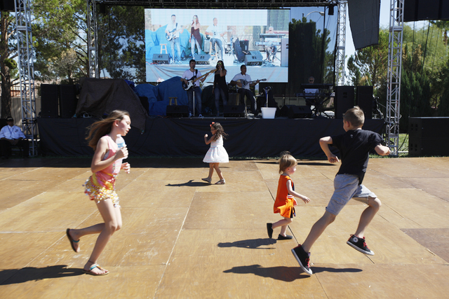 Children run past the stage area during the 44th Annual Greek Food Festival at St. John Greek Orthodox Church in Las Vegas, Sunday, Sept. 18, 2016. Rachel Aston/Las Vegas Review-Journal Follow @ro ...