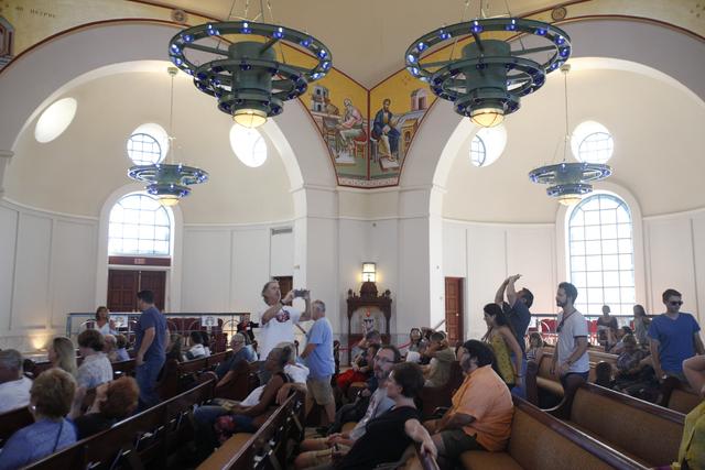 Attendees tour the church during the 44th Annual Greek Food Festival at St. John Greek Orthodox Church in Las Vegas, Sunday, Sept. 18, 2016. Rachel Aston/Las Vegas Review-Journal Follow @rookie__rae