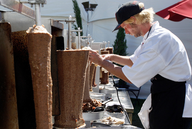 Nick Fields shaves gyro meat at the gyro booth during the 44th Annual Greek Food Festival at St. John Greek Orthodox Church in Las Vegas, Sunday, Sept. 18, 2016. Rachel Aston/Las Vegas Review-Jour ...
