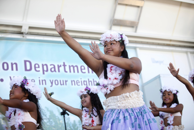 Members of the group Hula Girl Rocks perform at the Ho'olaule'a Pacific Islands Festival on Sunday, Sept. 11, 2016, at the Henderson Events Plaza in Henderson. Rachel Aston/Las Vegas Review-Journa ...