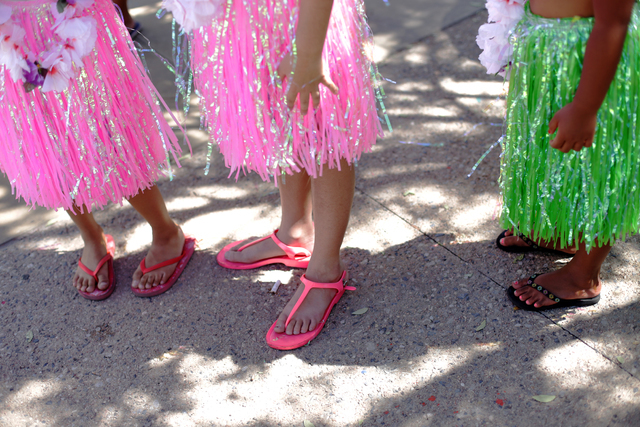 Members of the group Hula Girl Rocks wait to perform at the Ho'olaule'a Pacific Islands Festival on Sunday, Sept. 11, 2016, at the Henderson Events Plaza in Henderson. Rachel Aston/Las Vegas Revie ...