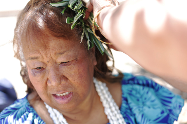 Jerri Kaina has her hairpiece fixed at the Ho'olaule'a Pacific Islands Festival on Sunday, Sept. 11, 2016, at the Henderson Events Plaza in Henderson. Rachel Aston/Las Vegas Review-Journal Follow  ...