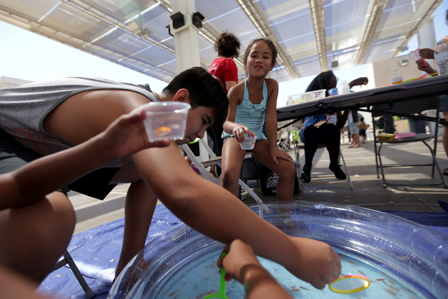 Shadiana Walter, 9, from left, Tyler Emerson, 13, and Payton Kamanu, 8, attempt to catch fish at the Ho'olaule'a Pacific Islands Festival on Sunday, Sept. 11, 2016, at the Henderson Events Plaza i ...