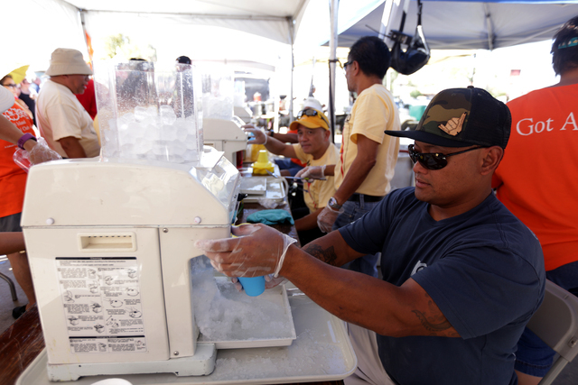 Frankie Sevilleja makes shaved ice at the Ho'olaule'a Pacific Islands Festival on Sunday, Sept. 11, 2016, at the Henderson Events Plaza in Henderson. Rachel Aston/Las Vegas Review-Journal Follow @ ...