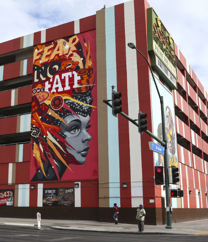 A mural is shown as setup goes on for the Life is Beautiful music and arts festival in downtown Las Vegas on Wednesday, Sept. 21, 2016. Chase Stevens/Las Vegas Review-Journal Follow @csstevensphoto