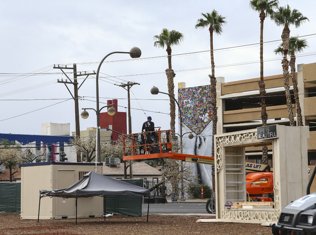 Setup goes on for the Life is Beautiful music and arts festival in downtown Las Vegas on Wednesday, Sept. 21, 2016. Chase Stevens/Las Vegas Review-Journal Follow @csstevensphoto