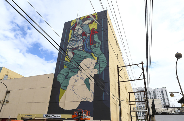 A mural by artist Bezt is shown as setup goes on for the Life is Beautiful music and arts festival in downtown Las Vegas on Wednesday, Sept. 21, 2016. Chase Stevens/Las Vegas Review-Journal Follow ...