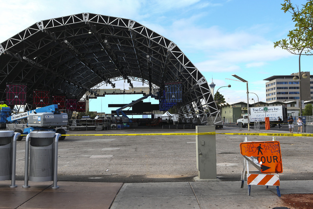 The Troubadour stage is shown as setup goes on for the Life is Beautiful music and arts festival in downtown Las Vegas on Wednesday, Sept. 21, 2016. Chase Stevens/Las Vegas Review-Journal Follow @ ...