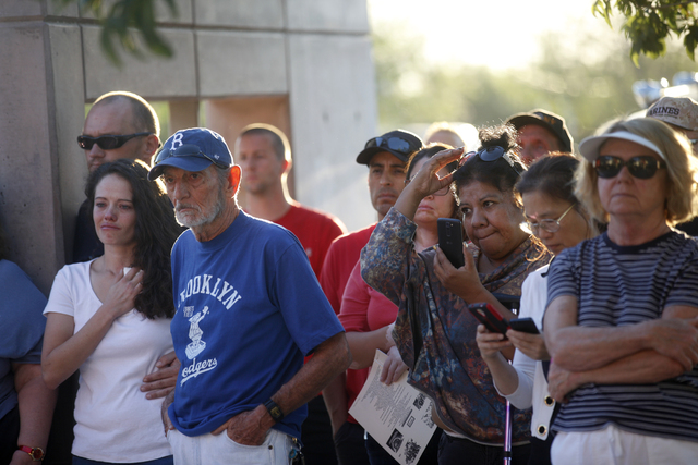 """A crowd gathers to watch the 9/11 """"Tolling of the Bells"""" ceremony at Fire Station Five on Sunday, Sept. 11, 2016, in Las Vegas. (Rachel Aston/Las Vegas Review-Journal) Follow @rookie__rae"""