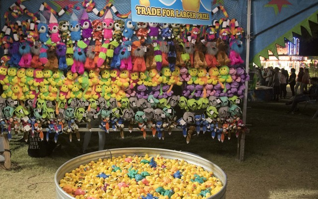 A wall of stuffed animal prizes are seen at a duck pond game carnival booth during the San Gennaro Feast at Craig Ranch Regional Park in North Las Vegas on Saturday, Sept. 17, 2016. Richard Brian/ ...