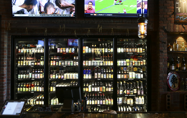 Bottled beers are shown at World of Beer during the restaurant's opening day at the Galleria at Sunset mall in Henderson on Thursday, Sept. 22, 2016. Chase Stevens/Las Vegas Review-Journal Follow  ...