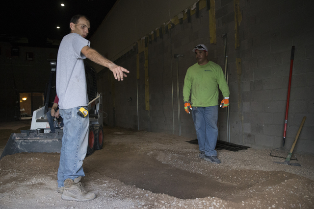 Project manager Tim Armstrong directs construction worker James Hoapili at the Truth Christian Ministries International building on Wednesday, Sept. 21, 2016, in Las Vegas. E(Erik Verduzco/Las Veg ...
