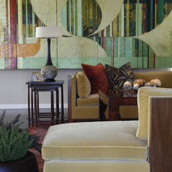 HOUZZ.COM Sometimes more subdued hues suit your decor just fine, as with this large, geometric painting that evokes a calming feeling yet is visually interesting.