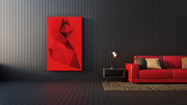 THINKSTOCK Very warm and dramatic against a dark background, this monochromatic painting featuring geometric shapes brings intensity and vitality to this modern living area interior.