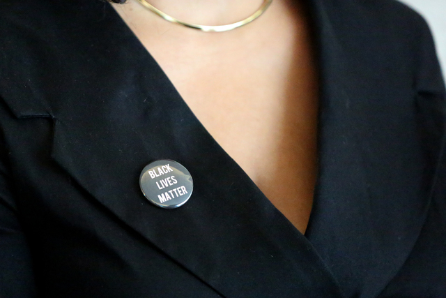 Erika Ballou was asked to remove her Black Lives Matter pin or leave the courtroom of District Judge Douglas Herndon at the Regional Justice Center on Tuesday, September 20, 2016. Michael Quine La ...