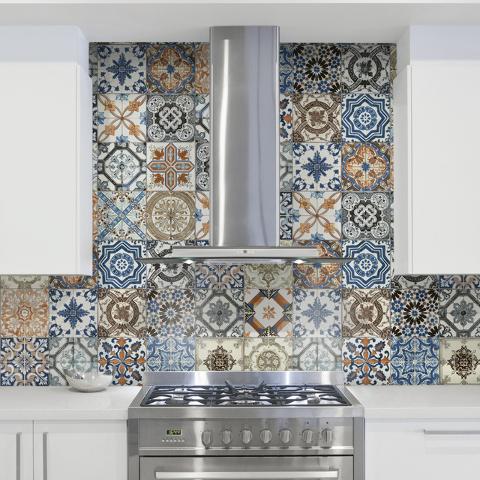Colorful Backsplash Home Design