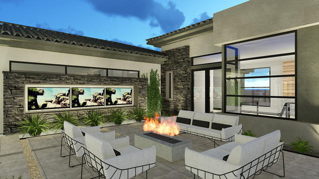 COURTESY OF BLUE HERON An artist's rendering of a Blue Heron Design Build pre-designed home in The Bluffs community in Southern Highlands.