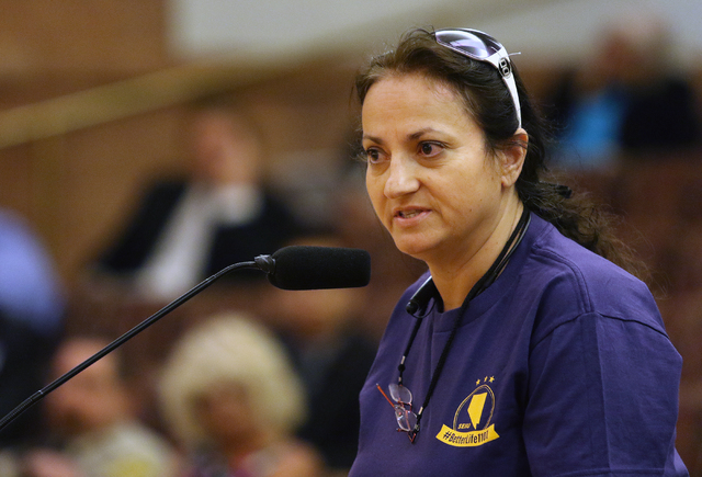 Service Employees International Union Local 1107 worker Eleni Konsolakis-Garcia speaks during public comment at the County Commission meeting at Clark County Government Center, Tuesday, June 16, 2 ...
