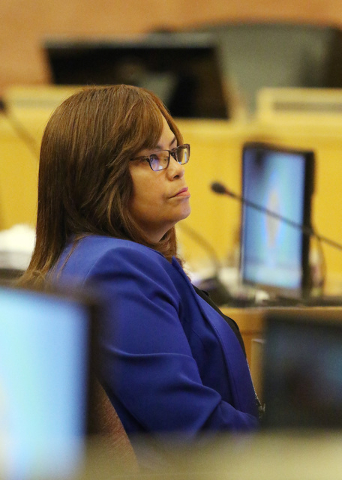 Yolanda King, chief financial officer of Clark County, attends a meeting of the Clark County Board of Commissioners at Clark County Government Center, Tuesday, Sept. 20, 2016, in Las Vegas. County ...