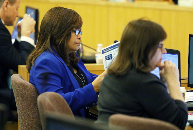 Yolanda King, left, chief financial officer of Clark County, attends a meeting of the Clark County Board of Commissioners at Clark County Government Center, Tuesday, Sept. 20, 2016, in Las Vegas.  ...