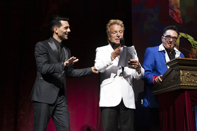 Criss Angel, Siegfried Fischbacher and Roy Horn during Heal Every Life Possible on Monday, Sept. 12, 2016, at The Luxor. (Jerry Metellus)