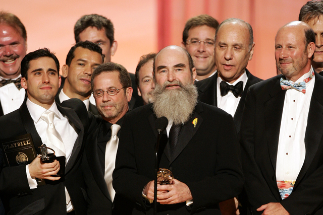 """Producer Michael David, center, and other members of the production of """"Jersey Boys"""" accept the award for best musical during the 60th annual Tony Awards in June 2006 in New York. (AP Photo/Jeff C ..."""
